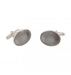 Gemelos ovalados esmalte gris