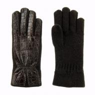 Guantes lana y piel coco marrón