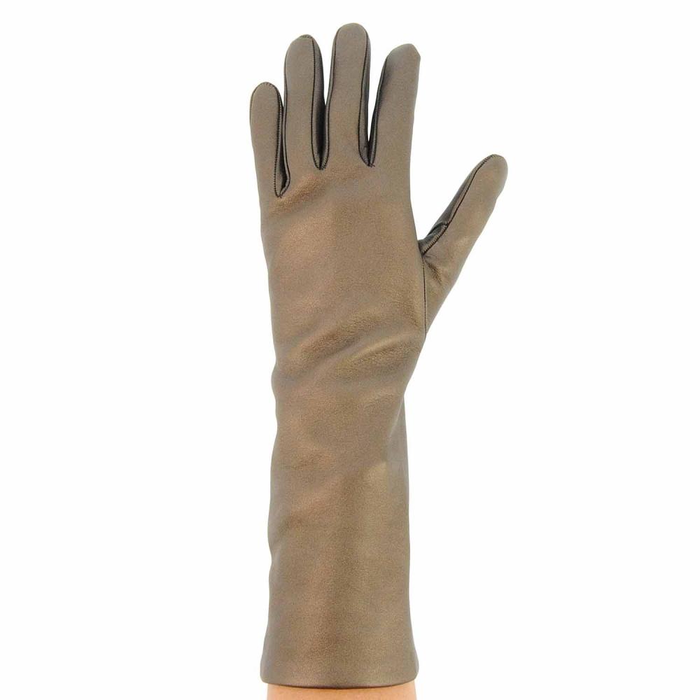 Guantes semi largos de piel metalizada paula alonso for Guantes de piel madrid