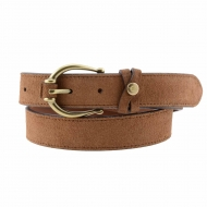 Cinturón El Caballo de piel serraje hebilla ovalada