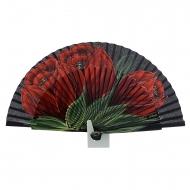 Abanico diseño madera negro tres flores