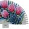 Abanico diseño madera blanca tulipanes rosas 100955