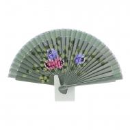 Abanico mini madera verde metalizada y flores