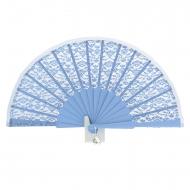 Abanico ceremonia encaje y seda azul
