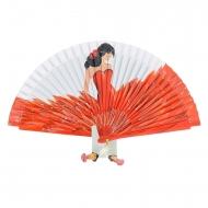 Abanico blanco diseño flamenca traje rojo