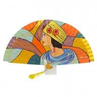 Abanico amarillo diseño dama con sombrero