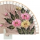 Abanico madera diseño flores doble cara  110573