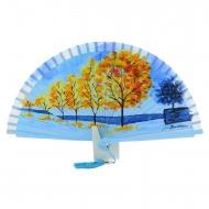 Abanico madera diseño azul con árboles