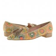 Zapatos camel punta fina piel ante y multicolor