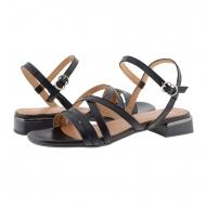 Sandalias planas de tiras cruzadas piel negra