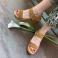 Sandalias cuña dos tiras piel serraje cuero 117565