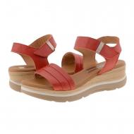Sandalias cuña piel lisa roja con velcro