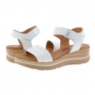 Sandalias cuña piel lisa blanca con velcro