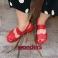 Sandalias cuña piel lisa roja C-5623 Wonders 117409
