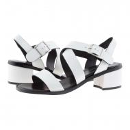 Sandalias piel grabada blancas de Plumers