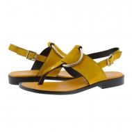 Sandalias de dedo piel ante amarillo Plumers