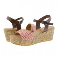 Sandalias cuña piel marrón y tejido rosa Porronet
