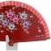 Abanico bolso en madera roja con flores 81992