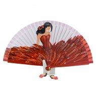 Abanico de diseño rojo con flamenca