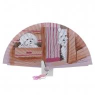 Abanico diseño rosa con perros