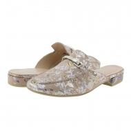 Zapatos tipo zueco flores metalizadas