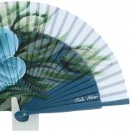 Abanico diseño madera azul con una flor