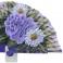 Abanico diseño madera morada tres flores 94383