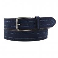 Cinturón piel serraje liso y grabado laterales