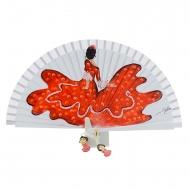 Abanico flamenca pintada y madera blanca